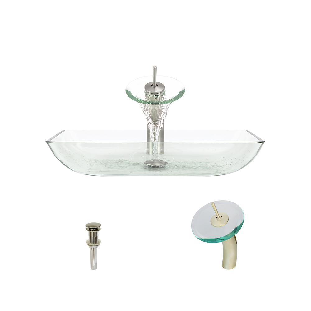 Mr Direct Glass Vessel Sink In Crystal With Waterfall