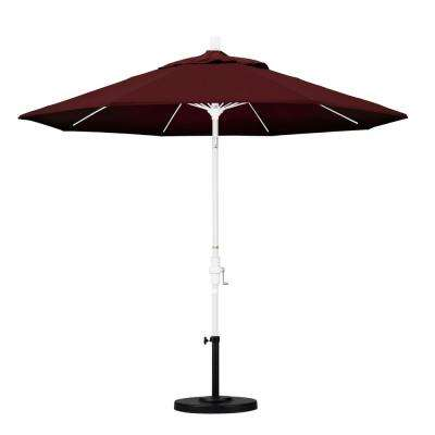 9 ft. Fiberglass Collar Tilt Patio Umbrella in Burgundy Pacifica