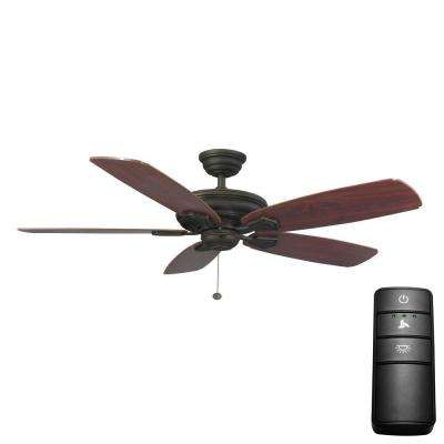 Heirloom 52 in. Oil Rubbed Bronze Ceiling Fan (Bundle with Universal 3-Speed Ceiling Fan Remote Control)