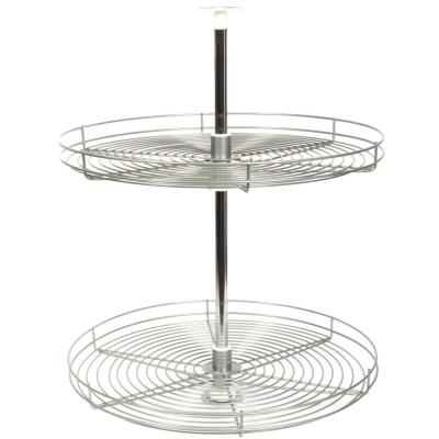 30.5 in. x 28 in. x 28 in. Full Round Frosted Nickel Wire Lazy Susan Cabinet Organizer
