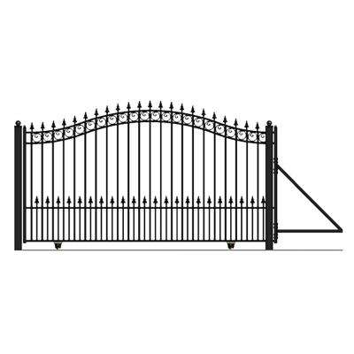 Prague Style 18 ft. W x 6 ft. H Black Steel Single Slide Driveway with Gate Opener Fence Gate