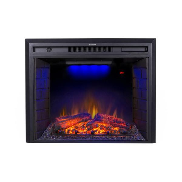 35.6 in. LED Recessed Wall Electric Fireplace with Over Heating Protection in Black