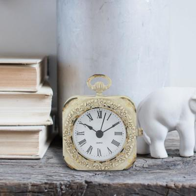4 in. x 3 in. Weathered White Tabletop Clock