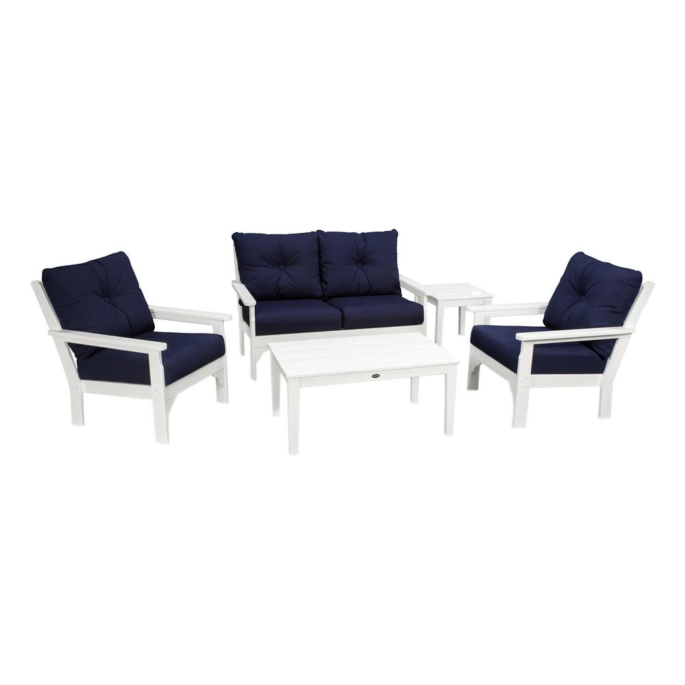 Vineyard White 5 Piece Plastic Patio Deep Seating Set With Sunbrella Navy  Cushions