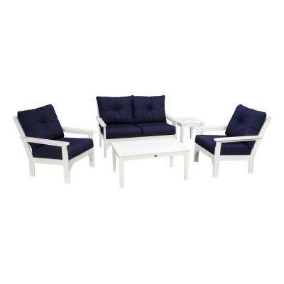 Vineyard White 5-Piece Plastic Patio Deep Seating Set with Sunbrella Navy Cushions