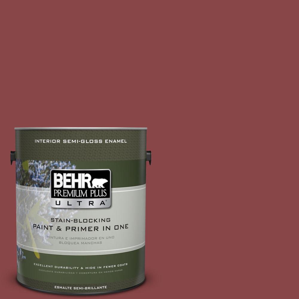 BEHR Premium Plus Ultra 1-gal. #PPU1-10 Forbidden Red Semi-Gloss Enamel Interior Paint