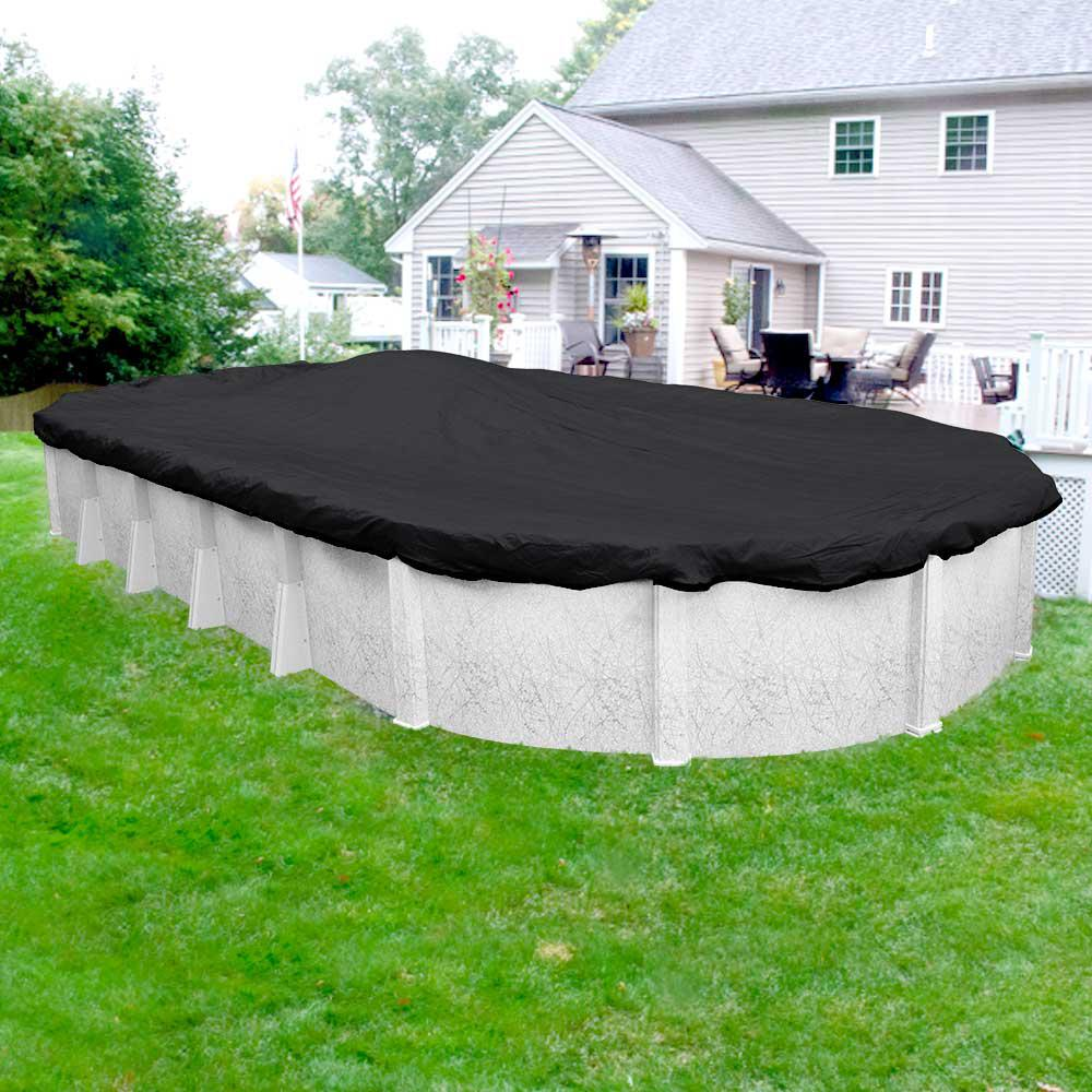 Robelle Mesh 21 ft. x 41 ft. Pool Size Oval Black Mesh Ab...
