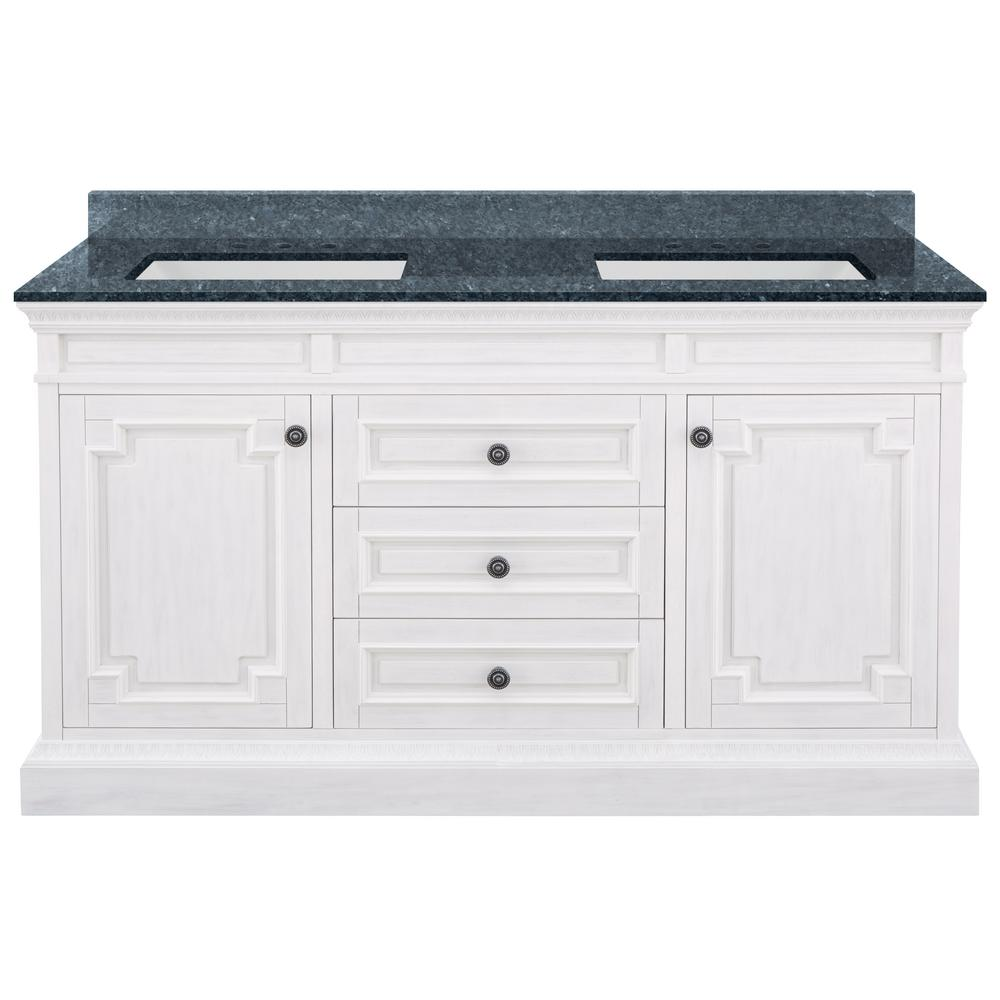 Home Decorators Collection Cailla 61 in. W x 22 in. D Bath Vanity in White Wash with Granite Vanity Top in Blue Pearl with White Sinks was $1849.0 now $1294.3 (30.0% off)