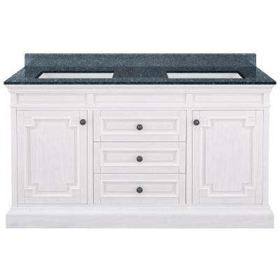 Cailla 61 in. W x 22 in. D Bath Vanity in White Wash with Granite Vanity Top in Blue Pearl with White Sinks