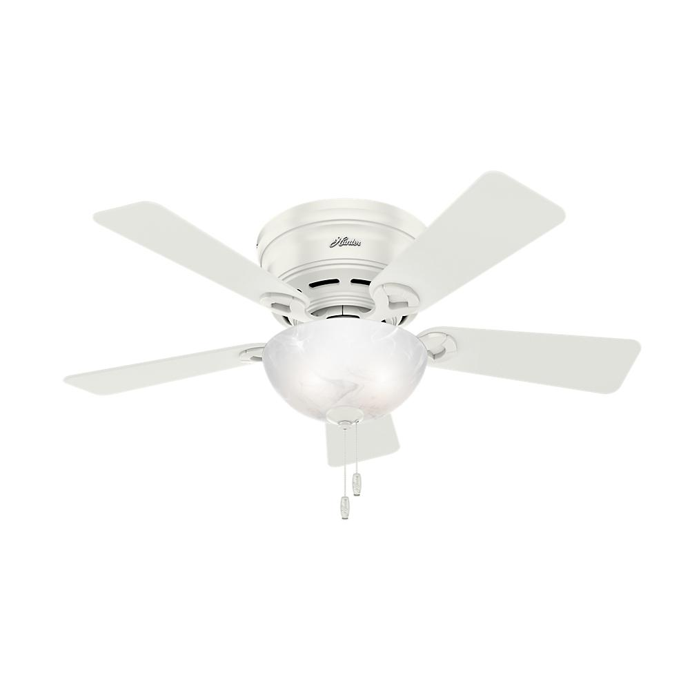 Hunter Haskell 42 In Low Profile Indoor Fresh White Ceiling Fan