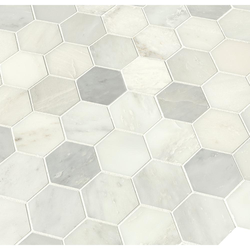 MSI Greecian White Hexagon 12 in. x 12 in. x 10mm Polished Marble Mesh-Mounted Mosaic Tile (1.06 sq. ft.)