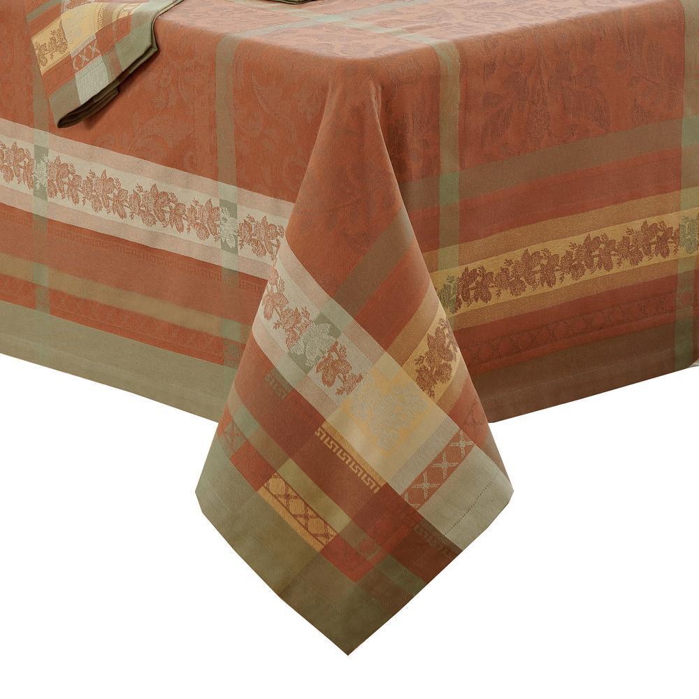 Promenade 63 in. W x 96 in. L in Harvest Jacquard Fabric Tablecloth