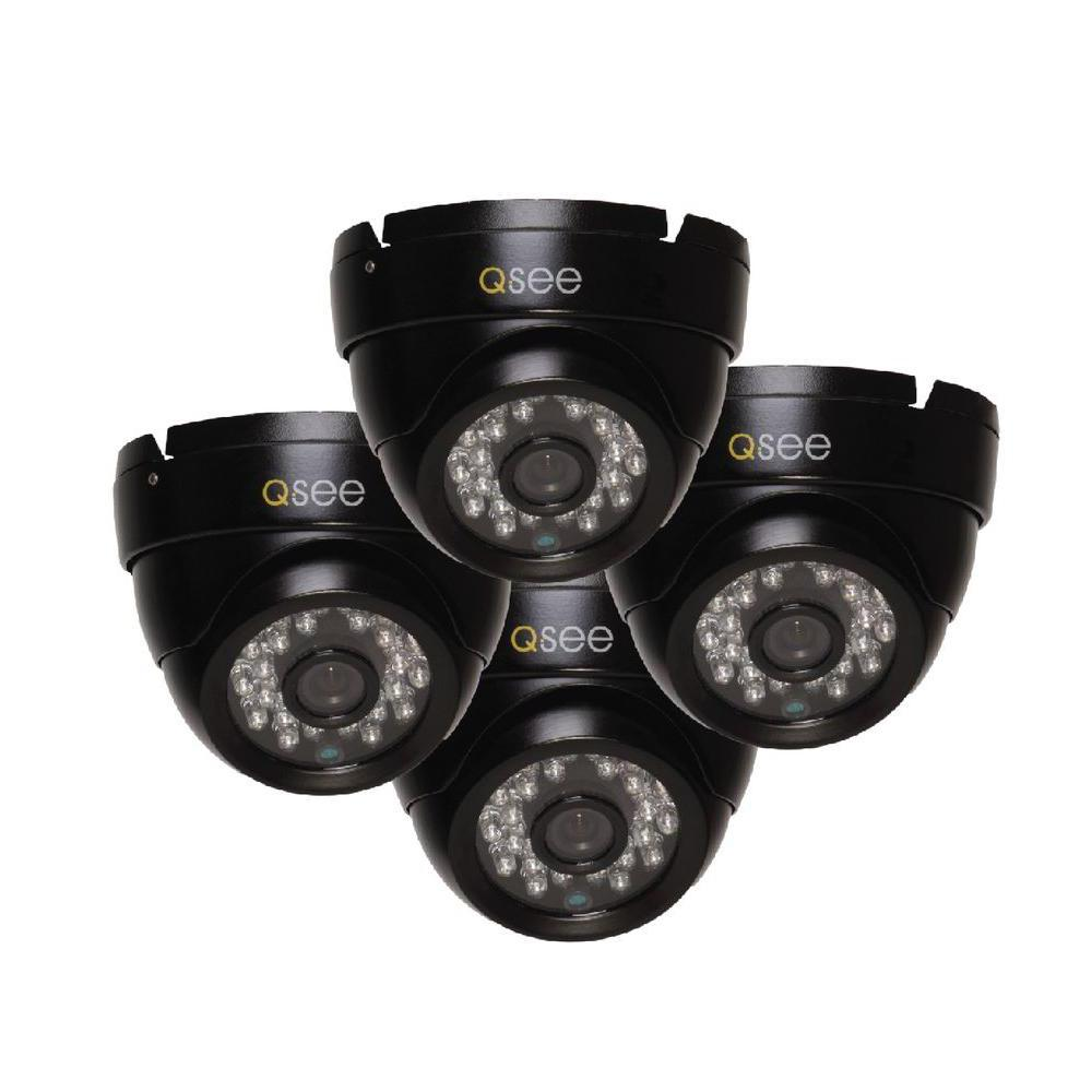 Q-SEE Wired 720p Indoor or Outdoor HD Dome Standard Surveillance Camera with 100 ft. Night Vision (4-Pack)