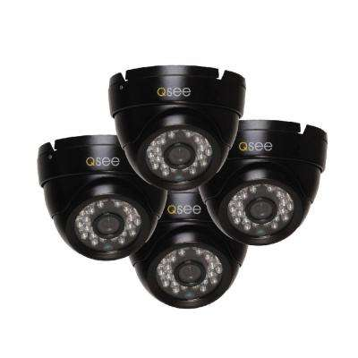 Wired 720p Indoor or Outdoor HD Dome Standard Surveillance Camera with 100 ft. Night Vision (4-Pack)