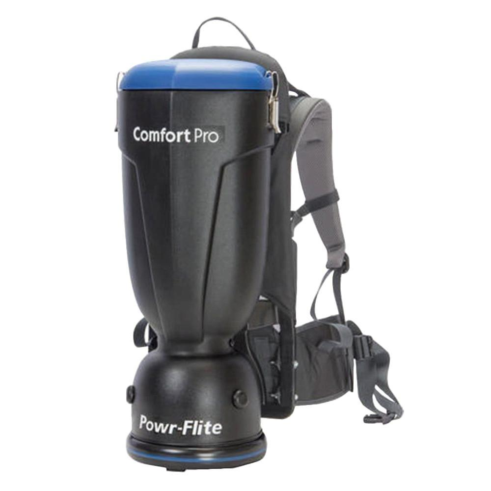 Powr-Flite 10 qt. Comfort Pro Backpack Vacuum Cleaner This product is assembled in Texas by skilled American workers, the Comfort Pro represents a major innovation in backpack vacuums. The Comfort Pro offers features not found in other backpack vacuums including the Air comfort harness system. It comes with a mesh back panel keeping the operator cooler as well as CRI Gold level performance which will make the Comfort Pro THE choice of cleaning professionals.