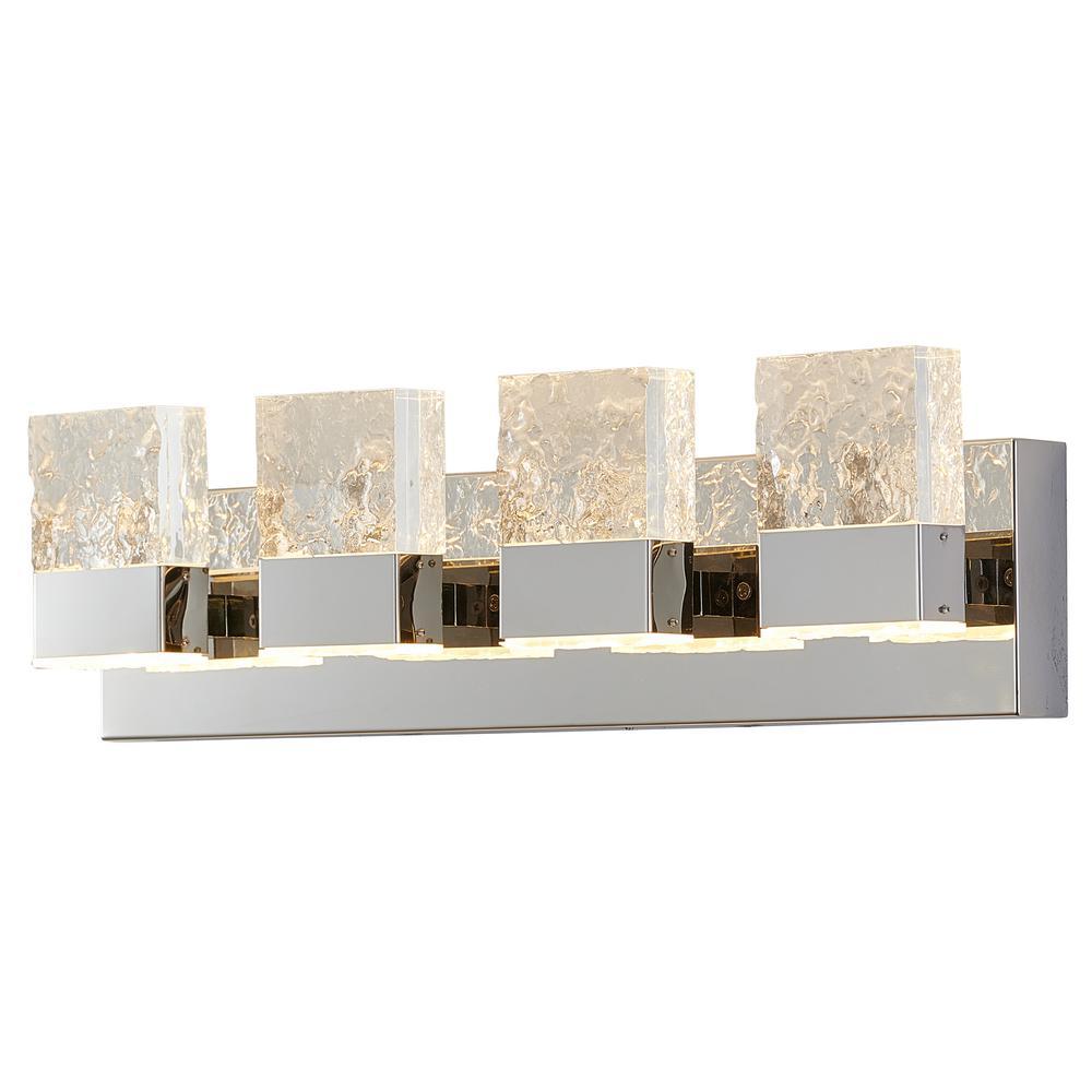 Regal 4-Light Chrome Mirror LED Vanity Light Bar with Stainless Steel Base