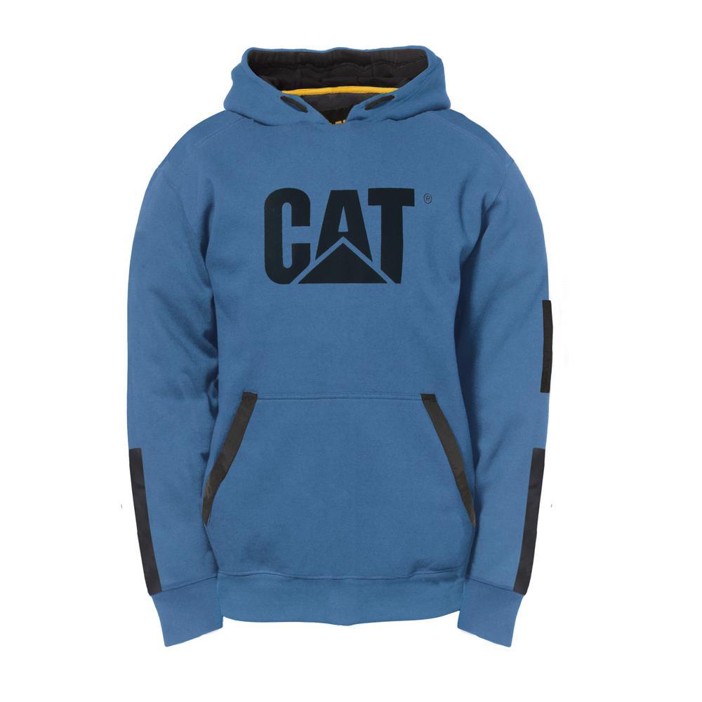 Lightweight Tech Men's Size X-Large Cool Blue Cotton Pullover Hooded Sweatshirt