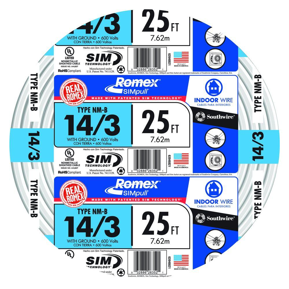 """12//3 NM-B x 15/' Southwire /""""Romex®/"""" Electrical Cable"""