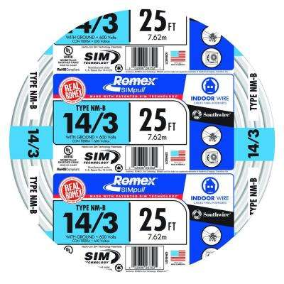 25 ft. 14/3 Solid Romex SIMpull CU NM-B W/G Wire