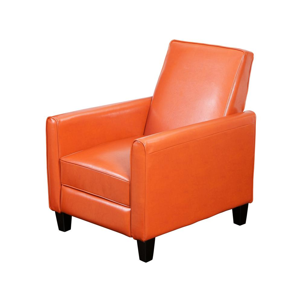 Darvis Burnt Orange Leather Recliner Club Chair