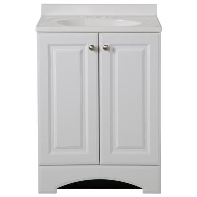 24 in. W Bath Vanity in White with Cultured Marble Vanity Top in White with White Sink