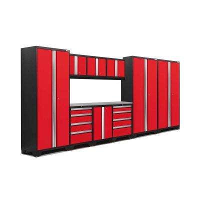 Bold 3 Series 77 in. H x 162 in. W x 18 in. D 24-Gauge Welded Stainless Steel Worktop Cabinet Set in Red (10-Piece)