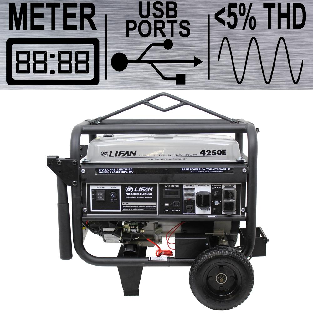 LIFAN Platinum Series 4,250/3,500-Watt Gasoline Powered Portable Generator  with THD Clean Sine Wave Power Portable Generator