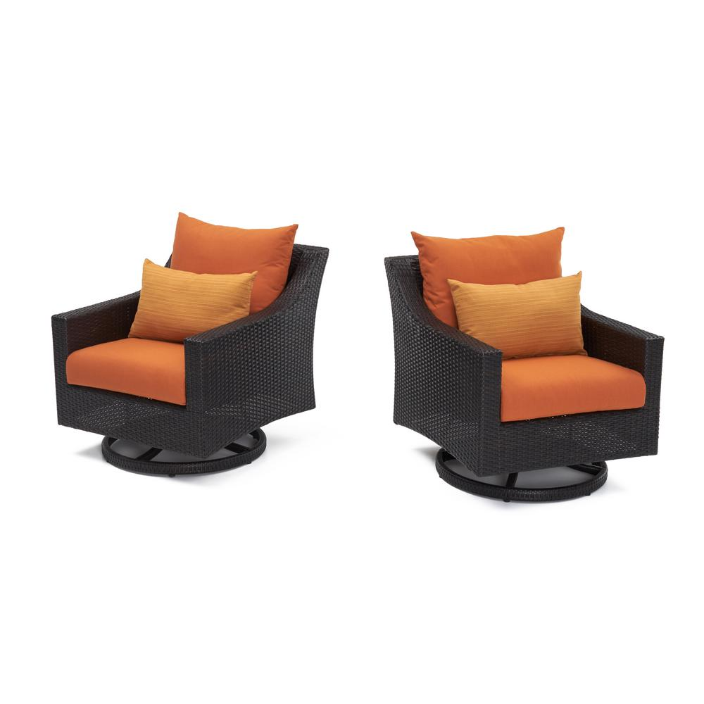 RST Brands Deco All Weather Wicker Motion Patio Lounge Chair With Tikka  Orange Cushions (