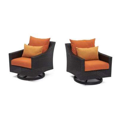 Deco All-Weather Wicker Motion Patio Lounge Chair with Tikka Orange Cushions (2-Pack)
