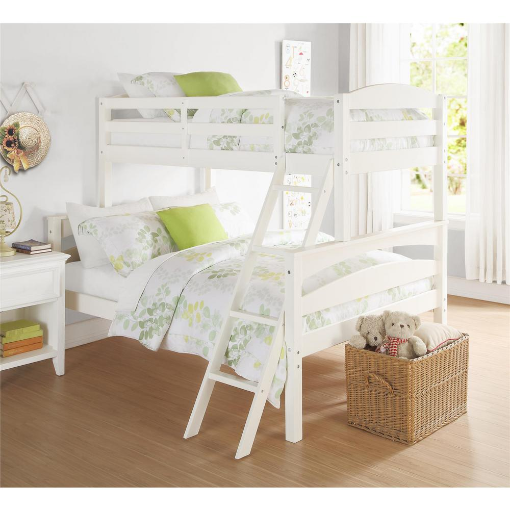 Dorel Living Brady Twin Over Full White Wood Bunk Bed Fa6940w The