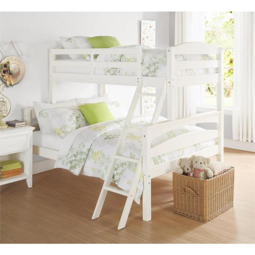 Dorel Living Brady Twin Over Full White Wood Bunk Bed FA6940W