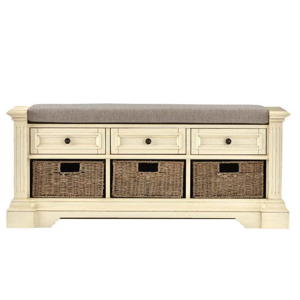 Upc 887060180930 Product Image For Home Decorators Collection Bufford Storage Bench In Rubbed Ivory
