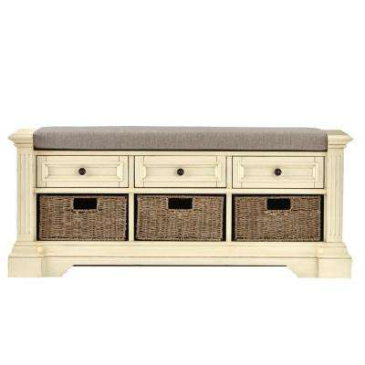 Bufford Antique Ivory Storage Bench