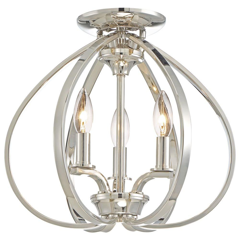 Minka lavery tilbury 3 light polished nickel semi flush mount 4983 minka lavery tilbury 3 light polished nickel semi flush mount 4983 613 the home depot arubaitofo Choice Image