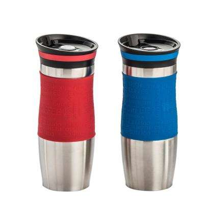 14 oz. 2-Piece Red and Blue Double Walled Stainless Steel Coffee Tumbler with Silicone Grip