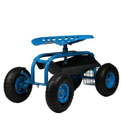 Blue Steel Rolling Garden Cart with Steering Handle, Swivel Seat and Basket