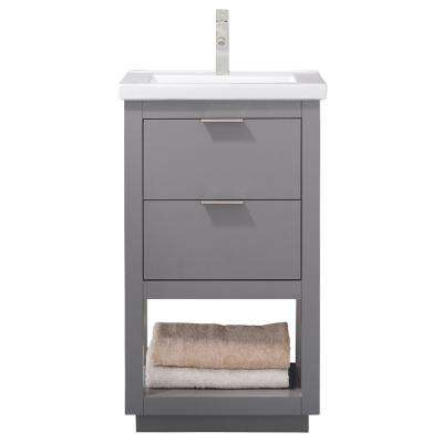 Klein 20 in. W x 15 in. D Bath Vanity in Gray with Porcelain Vanity Top in White with White Basin
