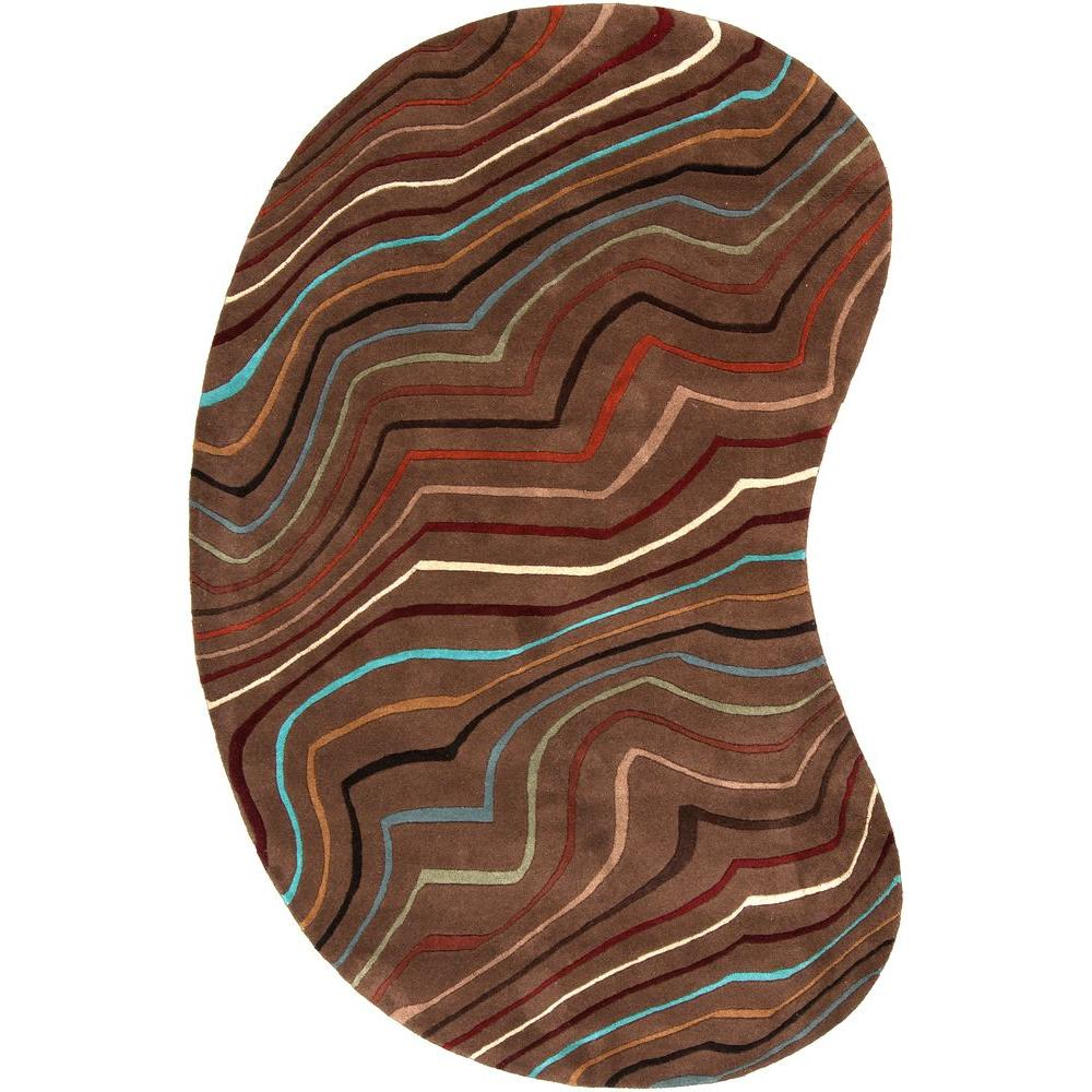 Kallang Chocolate 6 ft. x 9 ft. Kidney Area Rug