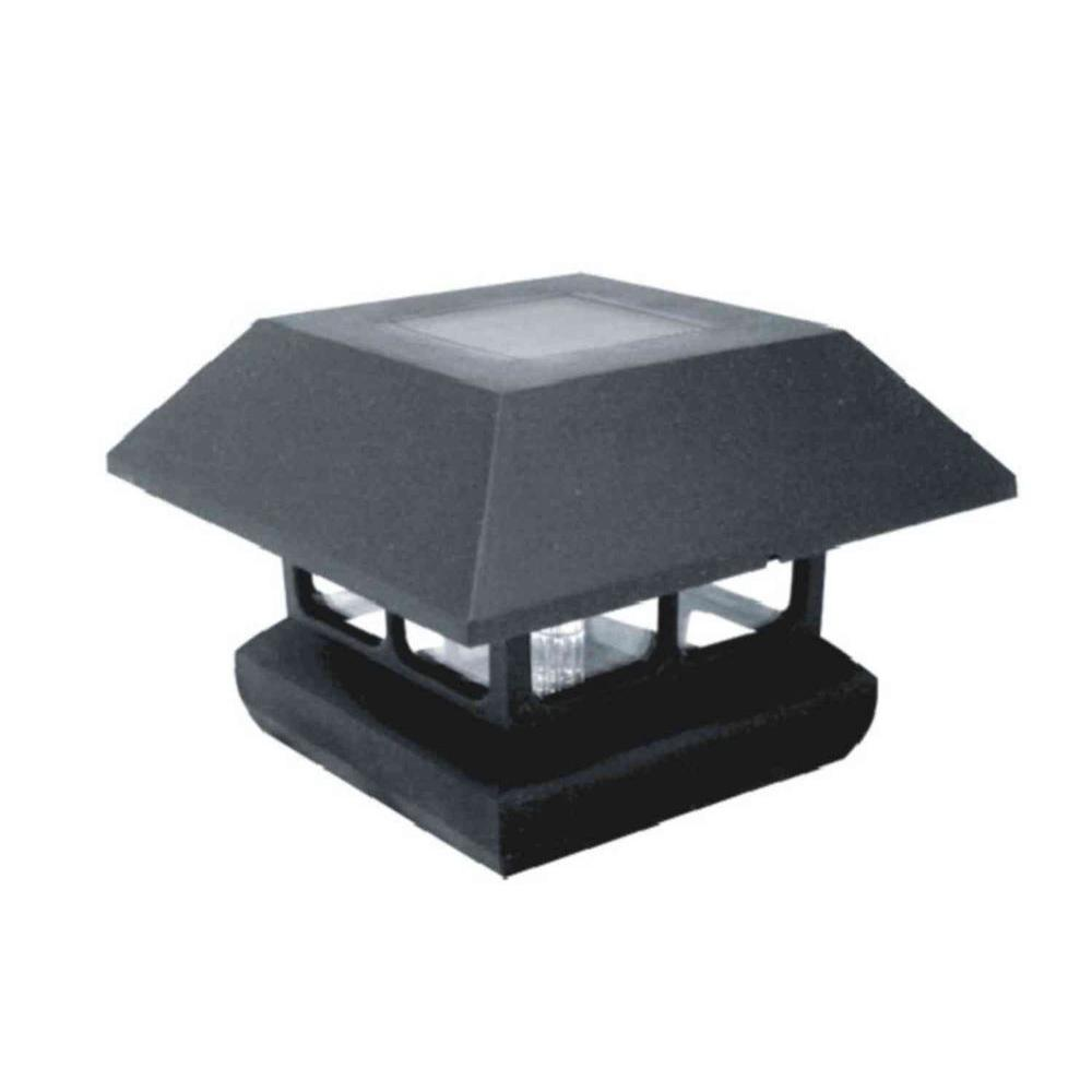 4 in. x 4 in. Black Plastic Solar Powered Post Cap