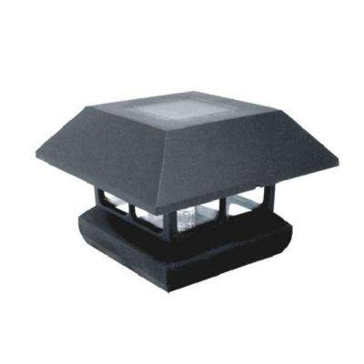 4 in. x 4 in. Black Plastic Solar Powered Post Cap (4-Pack)