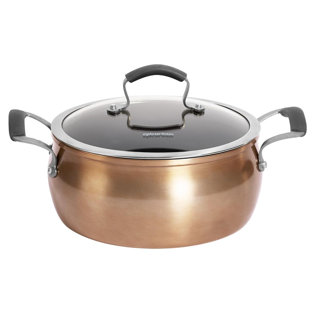 5 Qt. Copper Translucent Aluminum Chili Pot with Lid