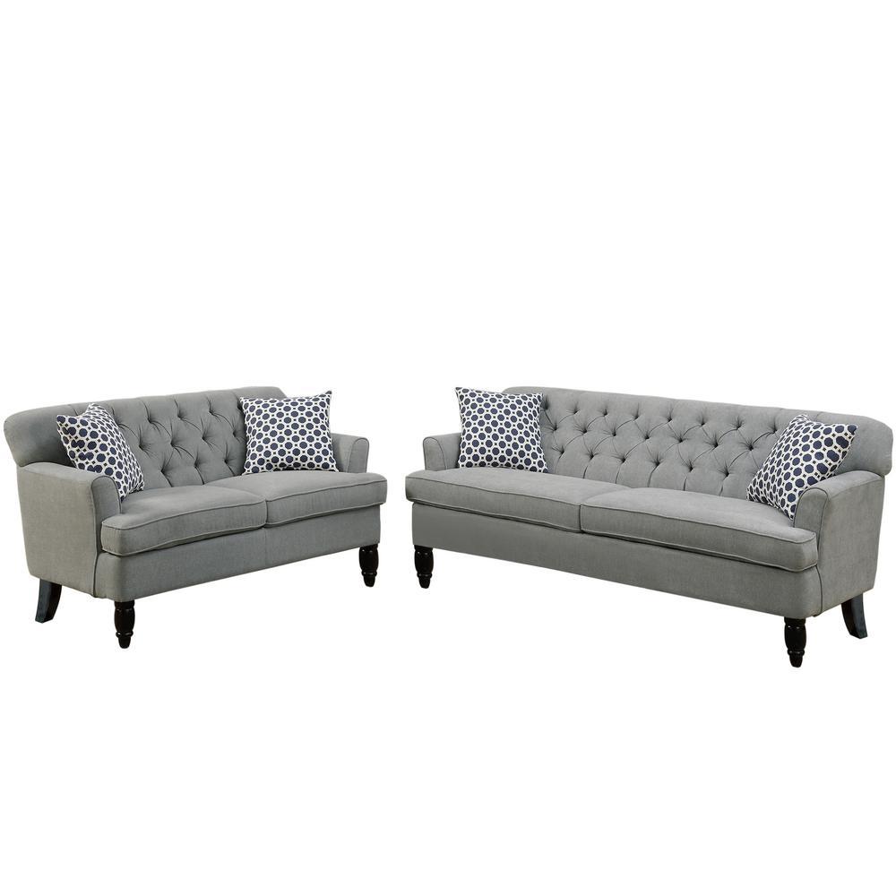 Venetian Worldwide Biella 2 Piece Taupe Sofa Set