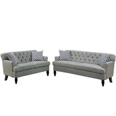 Biella 2-Piece Taupe Sofa Set