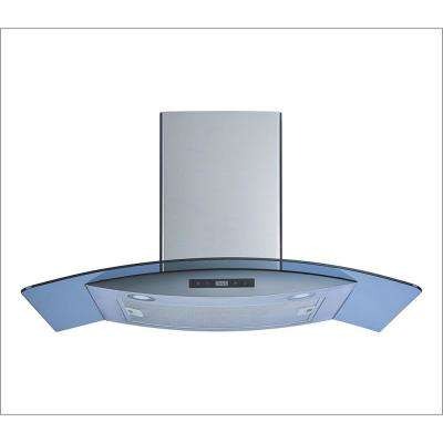 30 in. Wall Mount Stainless Steel/Arched Tempered Glass Convertible Kitchen Range Hood with Touch Control and LED Lights