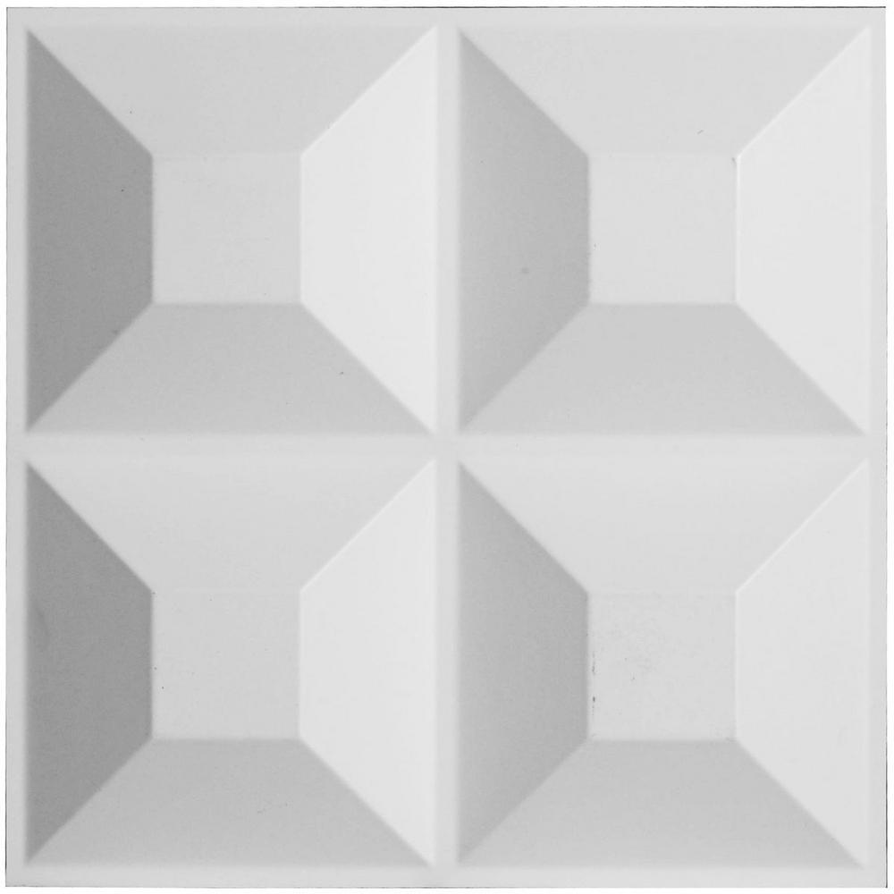 Ekena Millwork 1 in. x 11-7/8 in. x 11-7/8 in. PVC White Swindon EnduraWall Decorative 3D Wall Panel