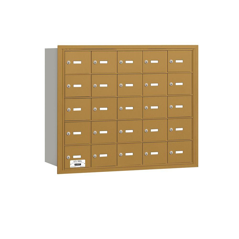 Salsbury Industries 3600 Series Gold Private Rear Loading 4B Plus Horizontal Mailbox with 25A Doors
