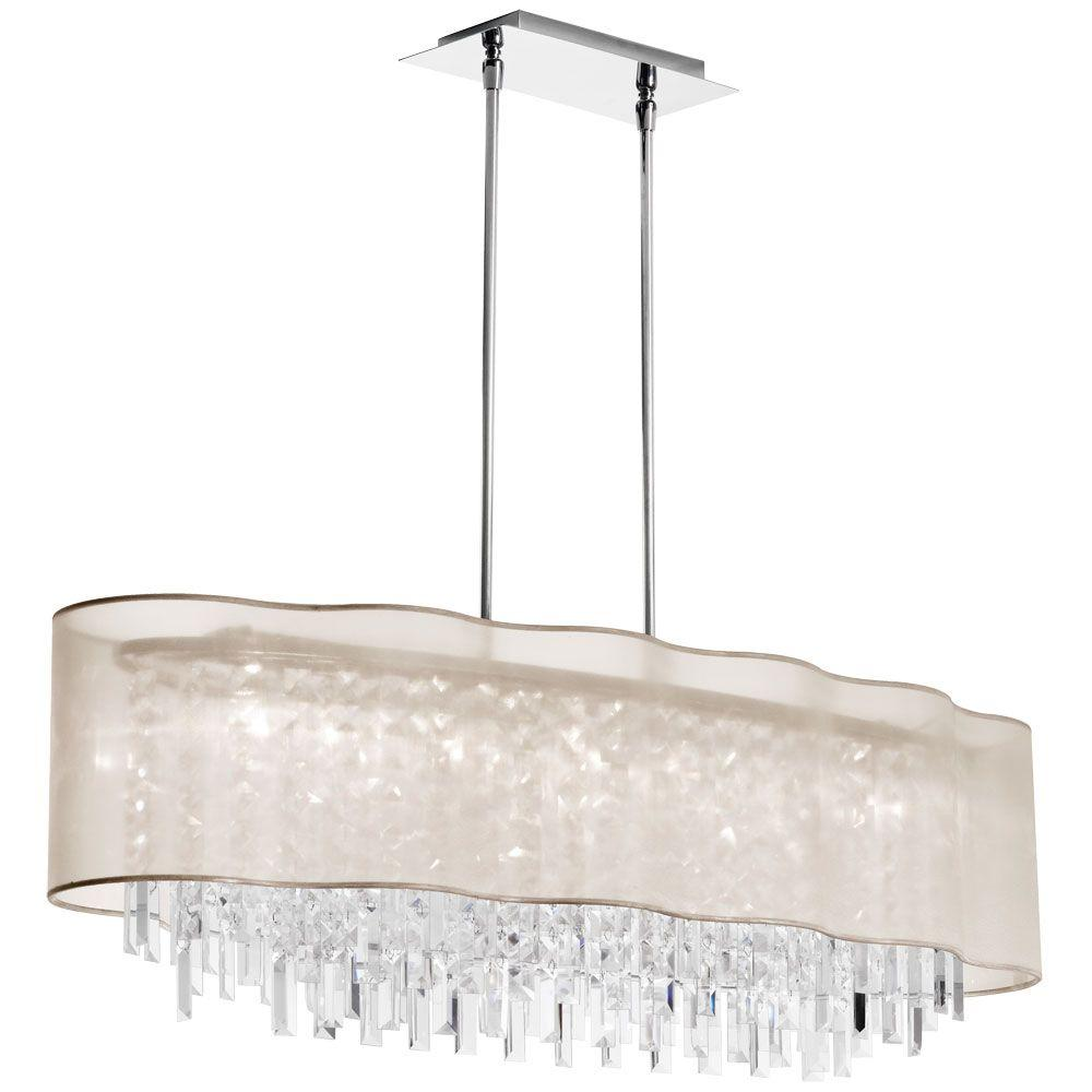 Catherine 8 Light Halogen Polished Chrome Chandelier with Oyster Organza Shades