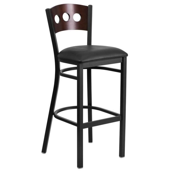 Flash Furniture 32 in. Walnut Wood Back/Black Vinyl Seat/Black Metal Frame