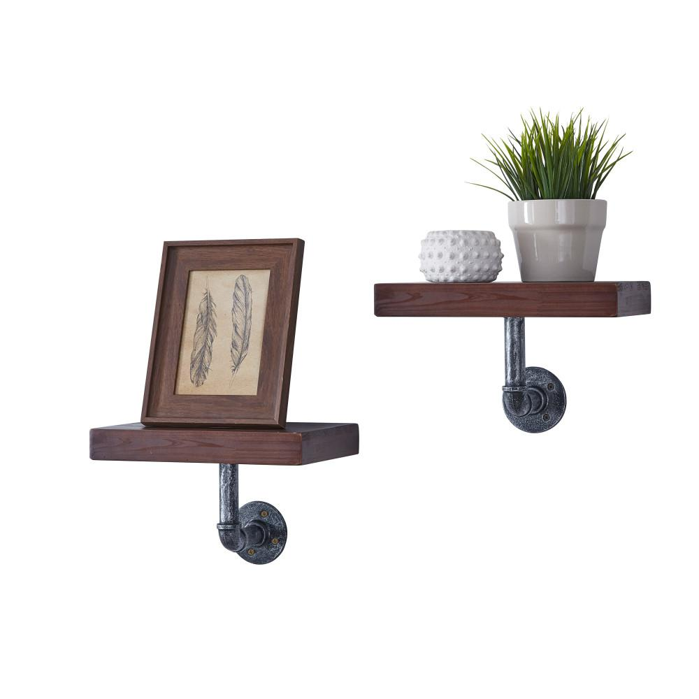 DANYA B 12 in. x 7 in. Floating Pipe Industrial Mocha Rustic Wall Mount Decorative Shelves (Set of 2)