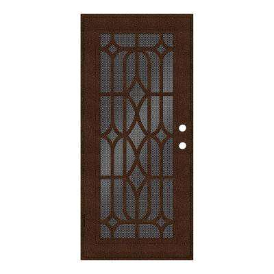 36 in. x 80 in. Essex Copperclad Left-Hand Surface Mount Security Door with Black Perforated Metal Screen